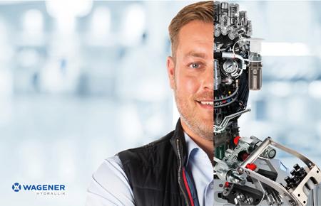 Werbemotiv mit Mitarbeiter dessen Kopf zur Hälfte aus Hydraulikkomponenten besteht.