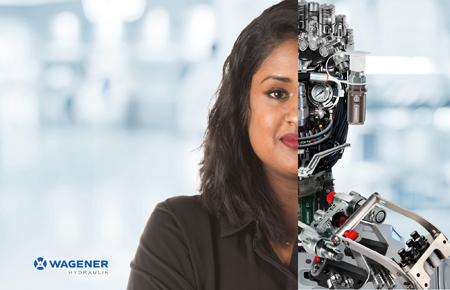 Werbemotiv mit Mitarbeiterin deren Kopf zur Hälfte aus Hydraulikkomponenten besteht.